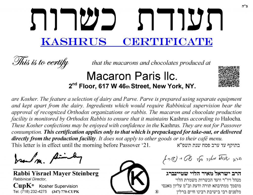 MacarOn Paris Kosher Certificate 2020 2021